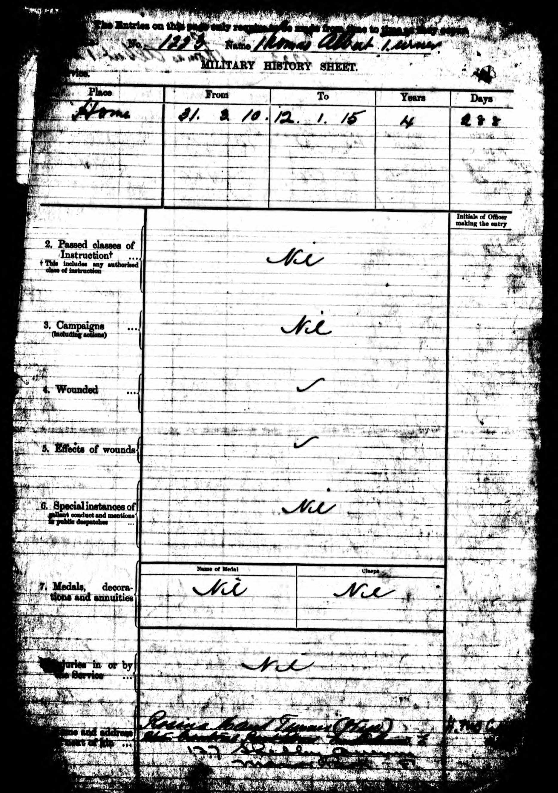 British Army WWI Pension Record for Thomas Albert Turner p06