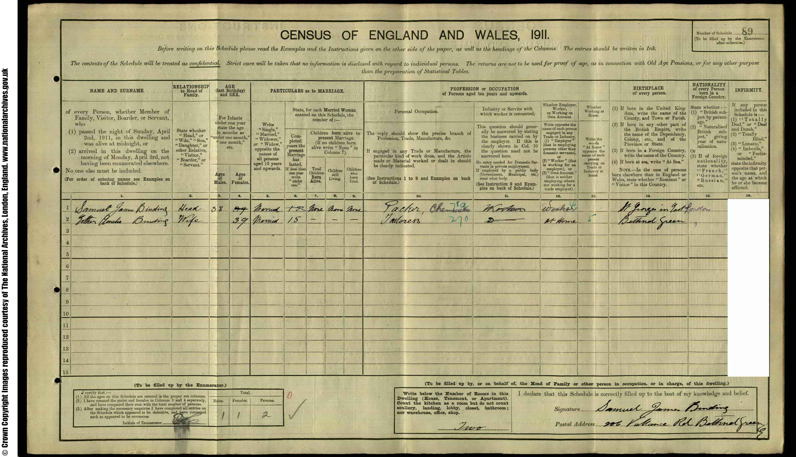 1911 England Census Record for Samuel James Binding