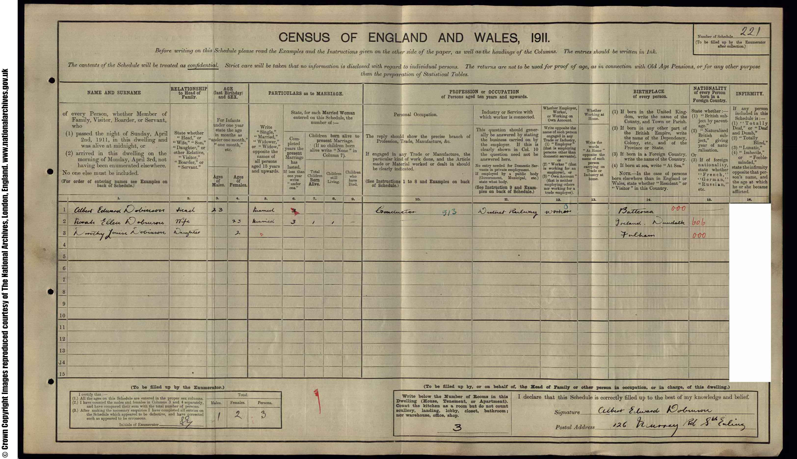 1911 England Census Record for Albert Edward Dobinson (b1888)