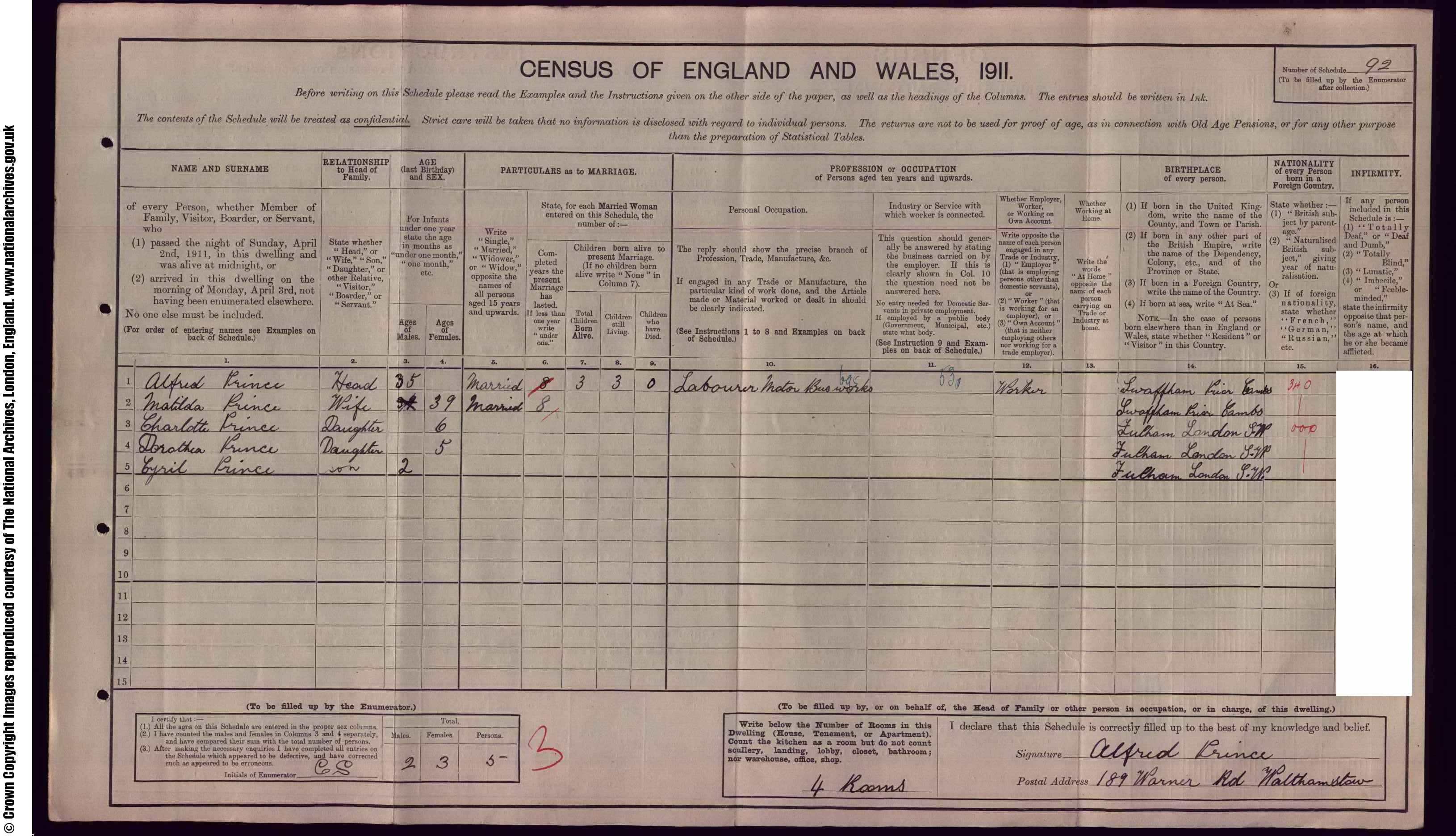 1911 England Census Record for Alfred Prince