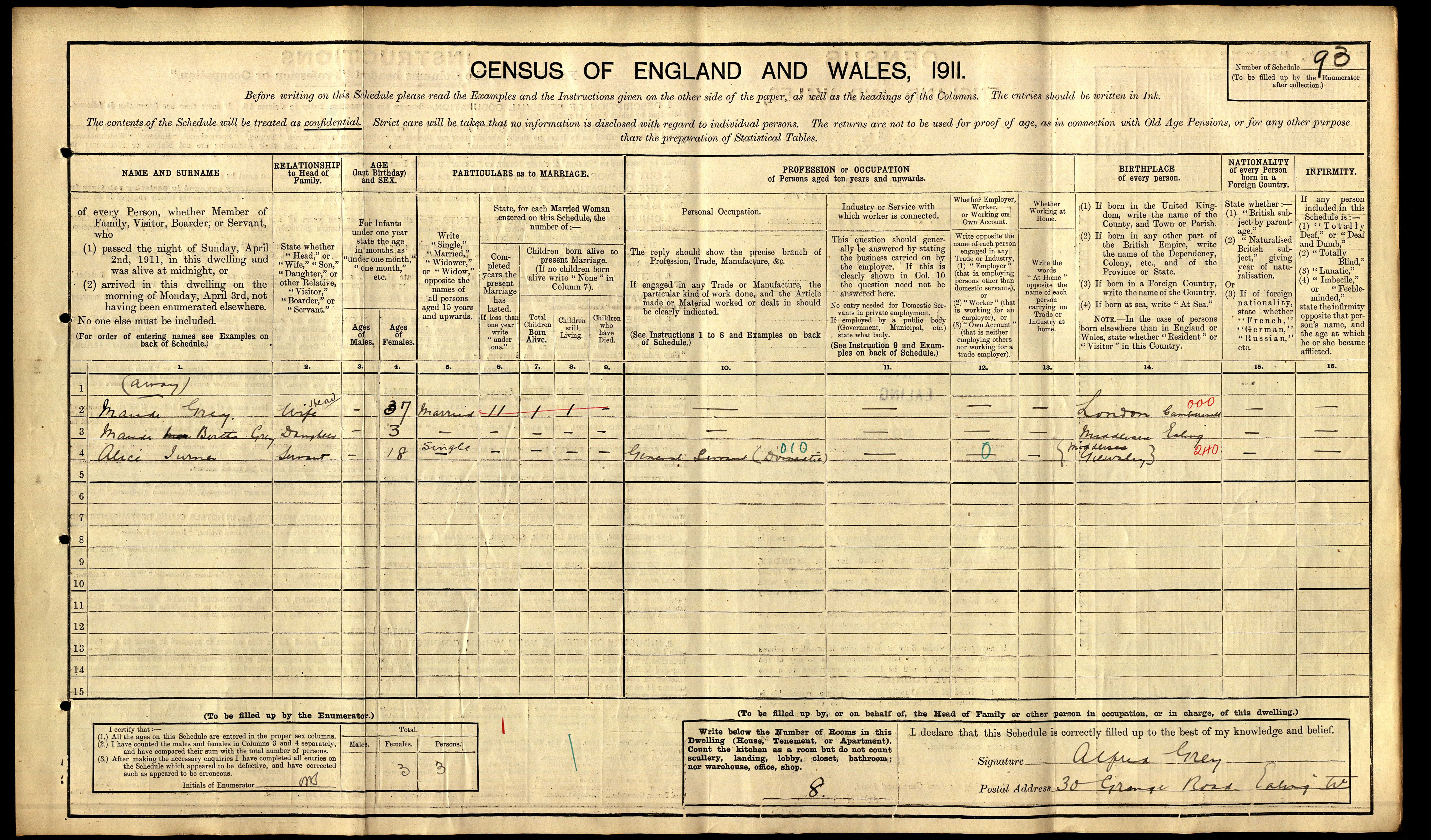 1911 England Census Record for Alice Turner