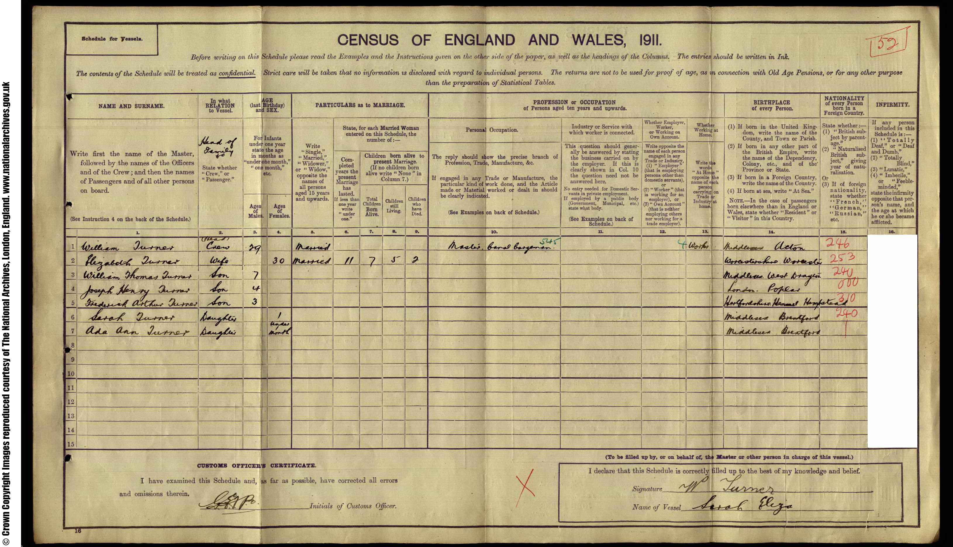 1911 England Census Record for William Turner (b1881)