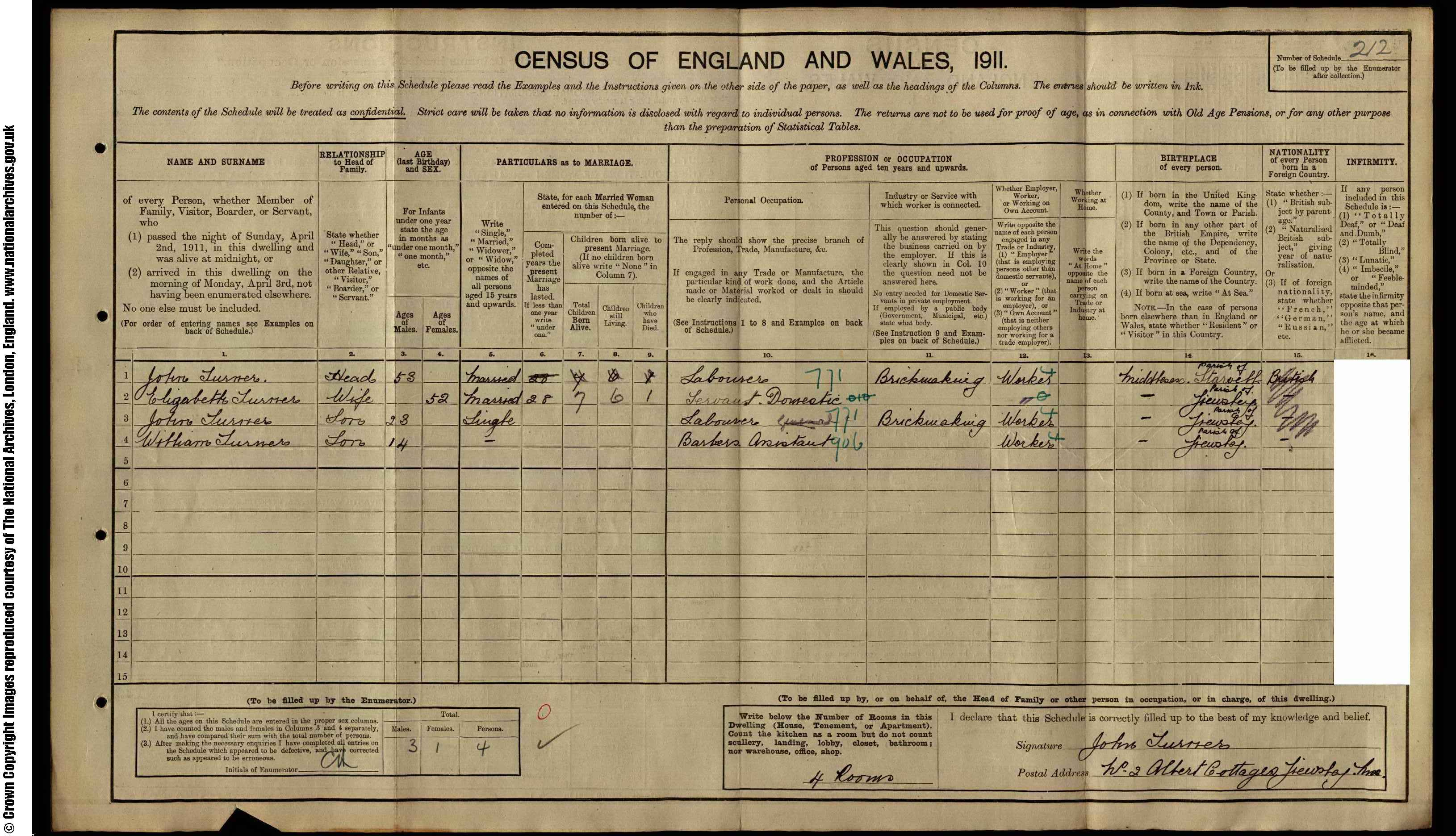 1911 England Census Record for John Turner