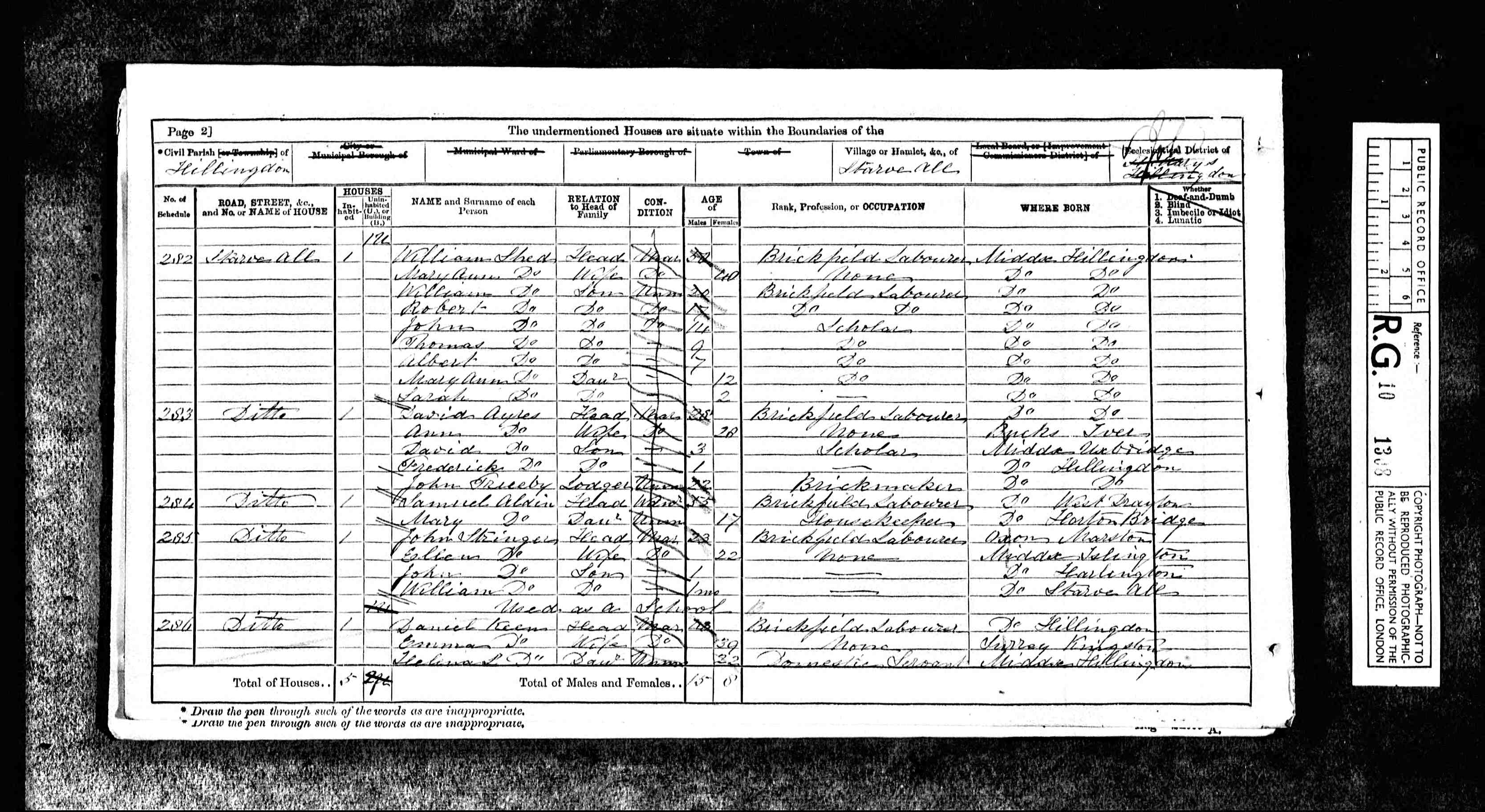 1871 England Census Record for William Shed