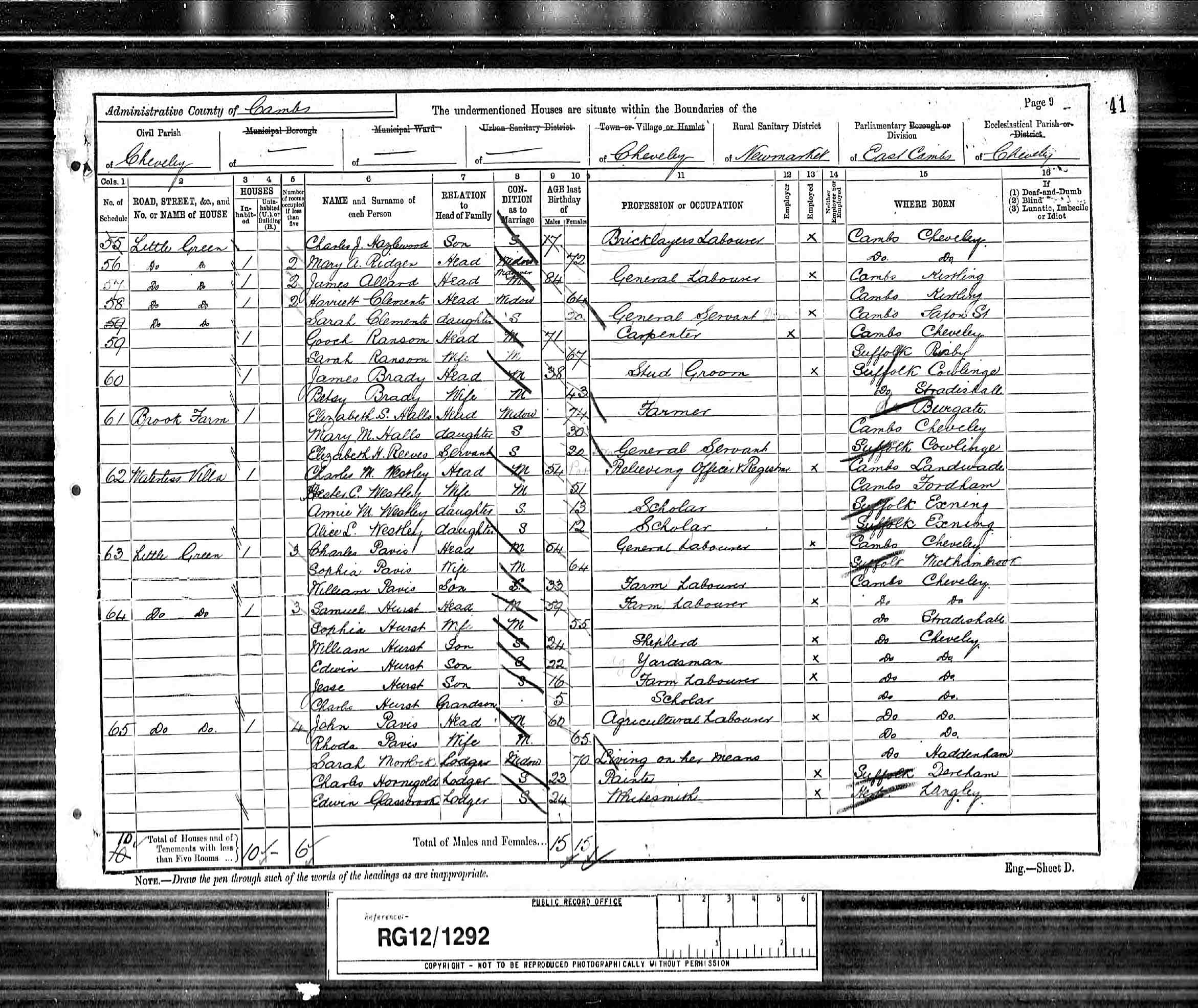 1891 England Census Record for James Hazlewood (b1831) - p2of2