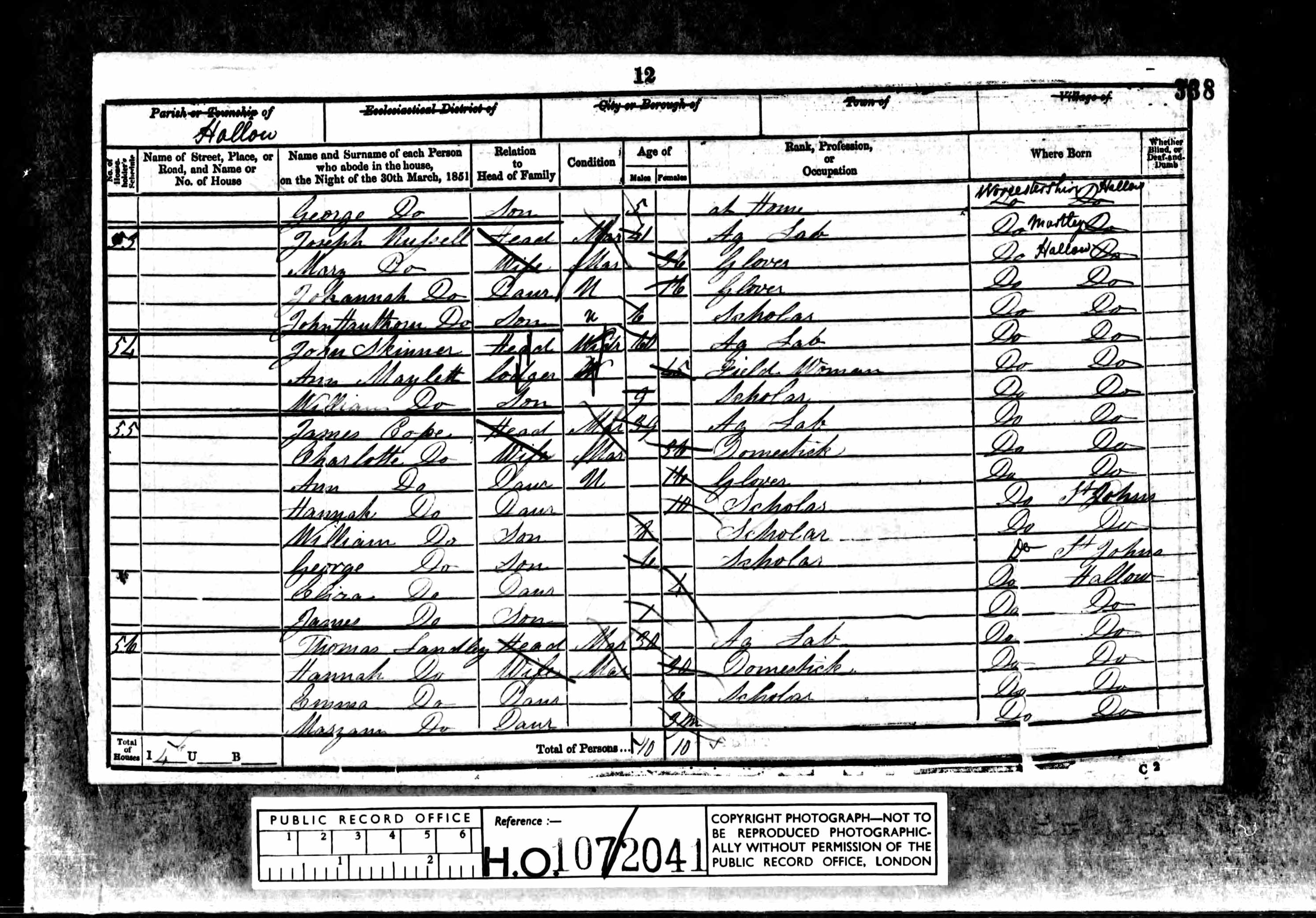 1851 England Census Record for James Cope