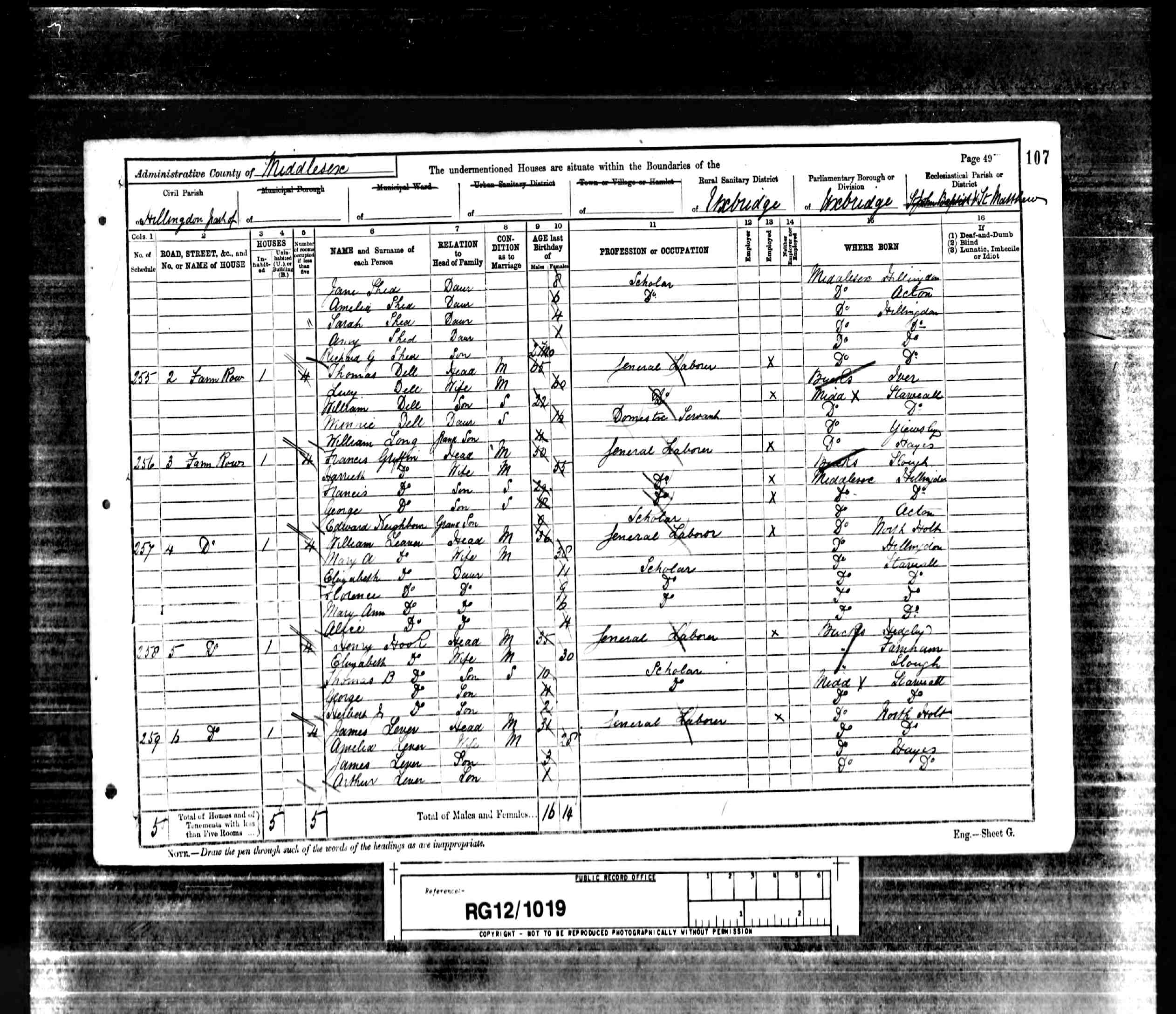 1891 England Census Record for William Shed (b1851) - p2of2